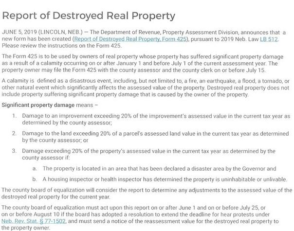 Report of Destroyed Real Property