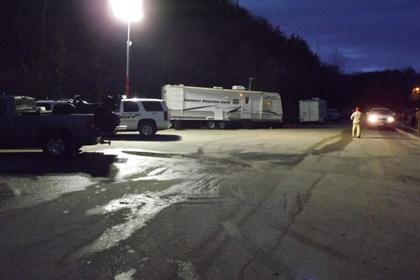 Operations trailer during night activities