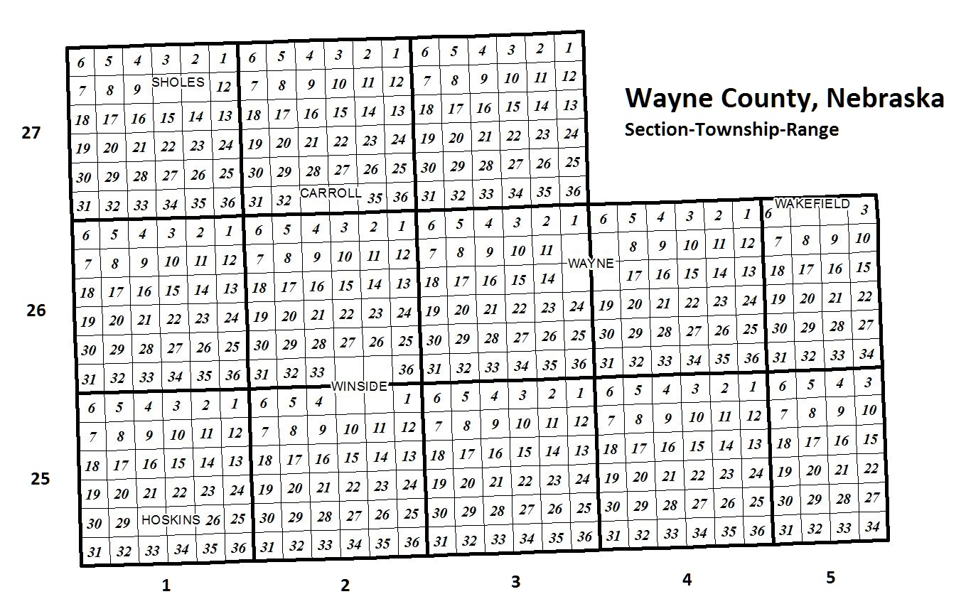 Map of Wayne County showing section, township and range